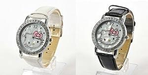 2PCS Hello Kitty Girls Rhinestone Wrist Watch Wristwatch Bracelet - White&Black
