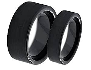 Amazon Men Amp Womens 8MM 6MM Flat Black Matte Finish Tungsten Carbide Wedding Band Ring Set