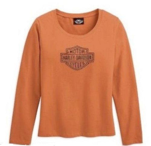 Harley-Davidson Women's Long Sleeve Bar & Shield Knit Shirt. Rhinestone Embellishments. Harley Orange. 99074-08VW (Small)