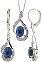 14k White Gold Dangle Earrings (19mm tall) & 18 in. Pendant-Necklace Set, w/ 0.20 Carat Brilliant Cut Diamonds & 3.64 Carats Oval Cut (7x5mm) Blue Sapphire Stones