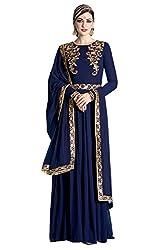 Stopnshop Fresh Designer Navy Blue Color Embroidered party Wear Anarkali Suit