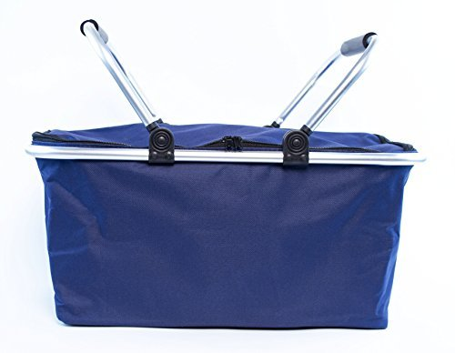 For Sale! Insulated Folding Picnic Basket -Insulated Cooler with Carrying Handles (Navy)