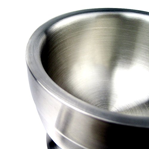 Brushed Stainless Steel Mortar and Pestle Pedestal Bowl Spice Grinder Set Kitchen Tool