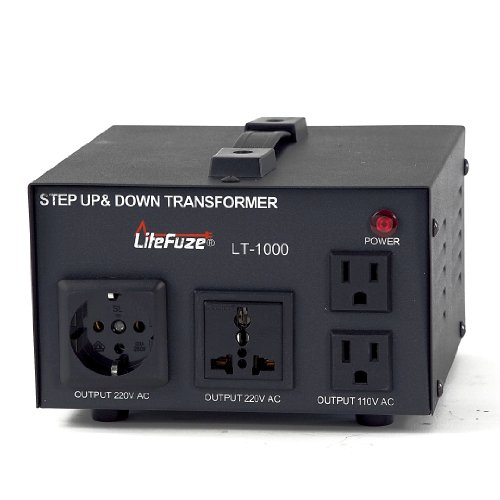 LiteFuze LT-1000 1000-Watt Step Up/Down 110V/220V Circuit Breaker Protection Voltage Converter Transformer with Detachable Cord (1000 Watt Transformer compare prices)