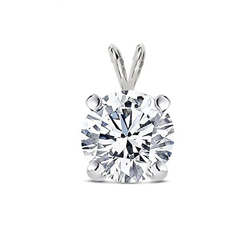 Diamond Color 925 Sterling Silver Solitaire Cubic Zirconia Round Pendant .50 Carat Round 5 Mm