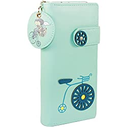Samaz Lady Girls Cute Doodle Clutch Wallet Card Purse Coin Pouch Bag (Green)