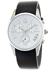 Calvin Klein Quartz, Black Leather Strap Band with Silver Dial - Men's Watch K2247126