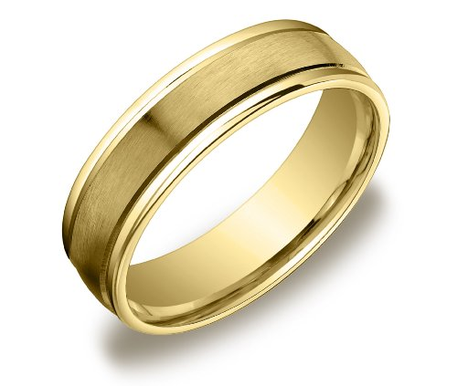 Men's 14k Yellow Gold Comfort-Fit Plain Wedding Band with Satin Center (6 mm), Size 10.5