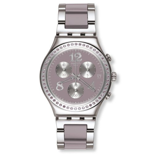 Swatch Secret Thought Beige-Mauve Chronograph Stainless Steel Ladies Watch YCS562G