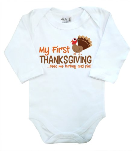 Dirty Fingers, My First Thanksgiving, Baby Long Sleeve Bodysuit, 3-6M, White