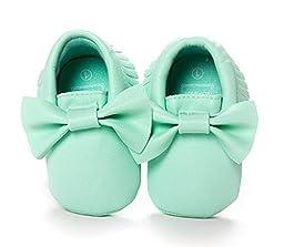 Fruitnut Infant Baby Girls\' Bow Mocassins Soft Sole Anti-Slip Tassels Prewalker Toddler Shoes Mint green 11