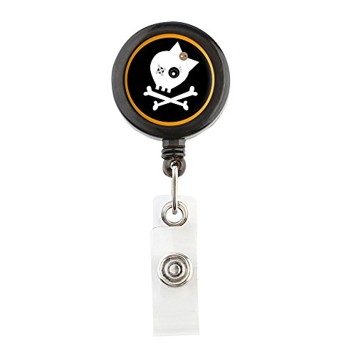 Translucent Retractable Badge Holder Reel Key Chain Reel for Key Cards and ID Cards SKULL & BONE (Black)