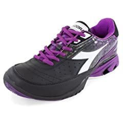 Buy Diadora Women`s S Star K II Tennis Shoe Black and Violet by Diadora