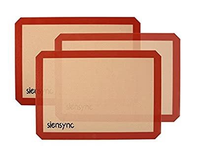 Siensync Silicone Baking Mat - 3 Set of 11.5 x16.4 Inch Half Sheet Calories Reduce Cookie Mat, Non-Stick Heat Resistant Cooking Mat for Oven / Microwave / Dishwasher / Freezer