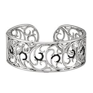 IceCarats Designer Jewelry Sterling Silver Genunie Spinel And Diamond Hinged Cuff Bracelet