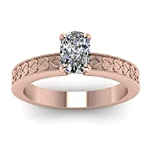 buy 1/2 Carat Cushion Cut Diamond Solitaire Engagement Ring With Milgrain 14K Gold Gia (F Color, Vs1 Clarity)
