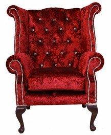 Chesterfield Swarovski Queen Anne High Back Wing Chair Wine Velvet