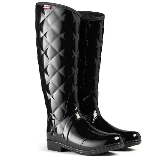 Womens Hunter Sandhurst Savoy Quilted Winter Festival Snow Wellies Boots - Black - 8