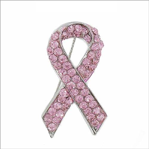 Crystal Stone Pink Ribbon Pin #041150