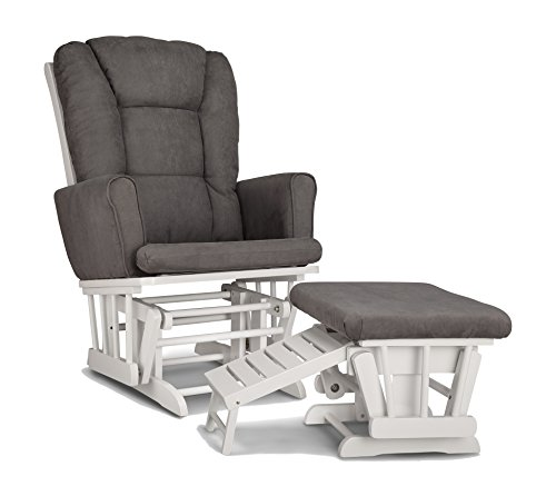 Graco Sterling Semi-Upholstered Glider and Nursing Ottoman, White/Gray