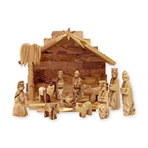 Click to buy Italian Christmas decorations : miniature olive wood nativity set from Amazon!