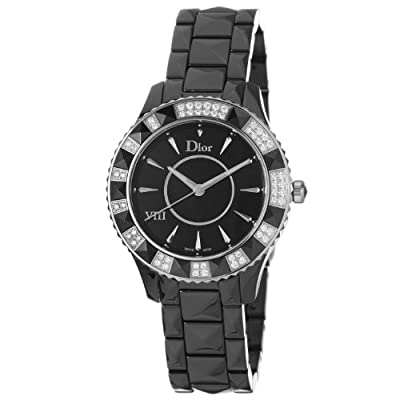 Christian Dior Women's CD1241E0C001 Dior VIII Black Face Crystal and Diamond Watch