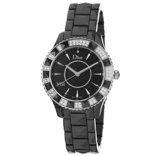 Christian Dior Black Eight Ladies Black Ceramic Diamond Watch CD1241E0C001