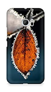 Amez designer printed 3d premium high quality back case cover for Htc One M10 (Winter Icy Orange Leaf Macro)