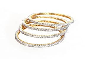Bubber Beauty Palace White Brass Bangles for Women (BBP - BPBNGL-418)
