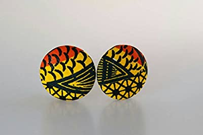 "Fabric button earrings (1 7/8""), African fabric button earrings, Ankara fabric button earrings, Fabric Earrings, Button earrings (Halu)"