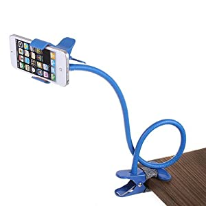 WoneNice Universal Flexible Long Arms Mobile Phone Holder Desktop Bed Lazy Bracket Mobile Stand Support all Mobiles Wide Less Than 90mm for Bedroom, Kitchen, Office, Bathroom etc...(Blue)