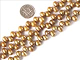 Sweet & Happy Girl'S Store 5-6x7-8mm Oval Golden Yellow Color Freshwater Cultured Pearl Beads Strand 15