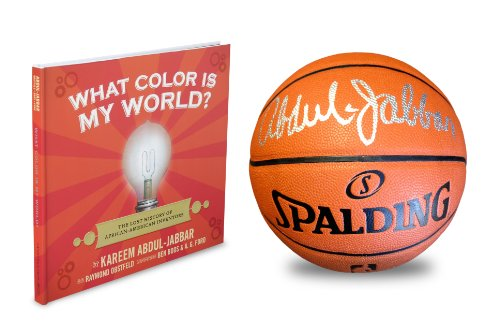 Autographed Kareem Abdul-Jabbar Spalding Composite Leather Basketball, Laker Photograph & What Color Is My World?: The Lost History Of African-American Inventors Book