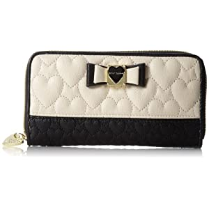 Betsey Johnson Be My Honey Buns Zip Around Wallet,Black,One Size