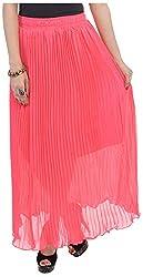 Soundarya Women's Chiffon Skirt (Carrot Pink)