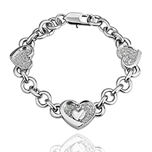 Adisaer 18K White Gold Plated Women Bracelets Mother's Bracelet Double Hearts Zirconia Length 8 Inchches