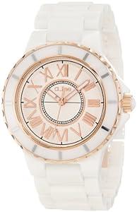a_line Women's 20040-WWWRR Marina White Textured Dial White Ceramic Watch