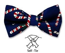 FBTX-2 - Navy - Red - Green - White - Christmas Theme Self Tie bowtie