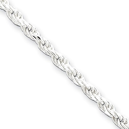 PriceRock Sterling Silver 2.25mm Diamond-Cut Rope Chain