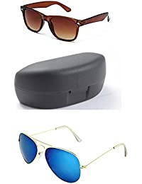 YOUNKY COMBO OF BROWN WAYFARER SUNGLASSES AND YOUNKY BLUE AVIATOR SUNGLASSES PAIR - WITH 2 BOXES