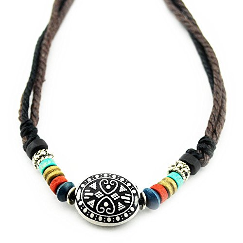 Real Spark Tibet Ancient Style Wood Beaded Adjustable Length Single Necklace