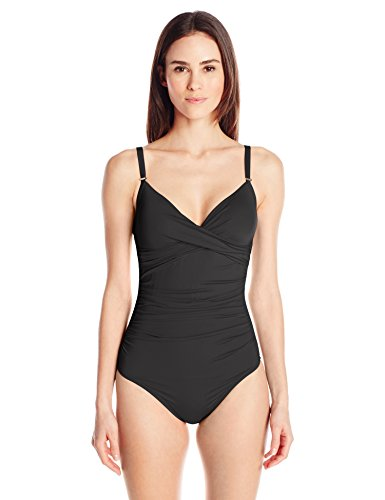 Calvin Klein Women's Solid Twist One Piece Swimsuit with Tummy Control, Black Solid, 12