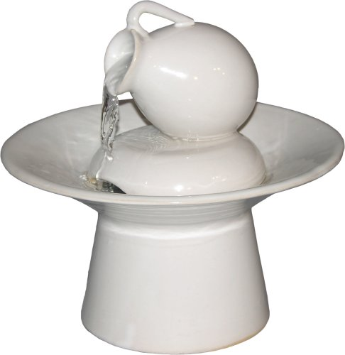 Cheap Table Fountains ~ White Ceramic Tea Pot Tabletop Water Fountain (B000NWGKNQ)