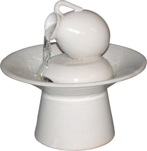 Cheap Table Fountains ~ White Ceramic Tea Pot Tabletop Water Fountain (B000NWGKNQ)