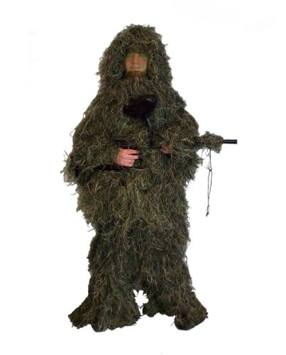 Best Price! New Ghillie Suit M/L or XL/XXL Camo Woodland Camouflage Forest Hunting 4-Piece + Bag (OU...