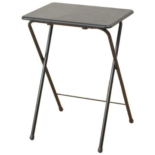 山善(YAMAZEN) 折りたたみミニテーブル(ハイ) ウッディブラック YST-5040H(BK/BK)
