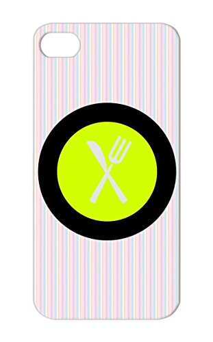Tpu Plate For Iphone 5S Table Setting Eat Food Plate Restaurant Fork Serve Cookout Symbols Dinning Place Setting Bbq Grill Set Cooking Cook Waiter Dishes Chef Shapes Knife Apron Yellow Shock Absorption Protective Hard Case