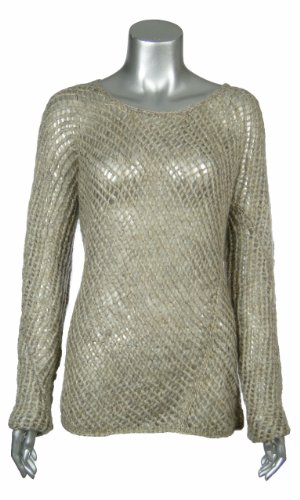 Eileen Fisher Womens Oat Mohair Blend Loose Knit Sweater Small [Apparel]