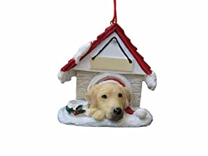 """Yellow Labrador Ornament A Great Gift For Yellow Labrador Owners Hand Painted and Easily Personalized """"Doghouse Ornament"""" With Magnetic Back"""