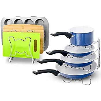 2 Pack - SimpleHouseware Kitchen Cabinet Pan and Pot Cookware Organizer Rack Holder, Chrome
